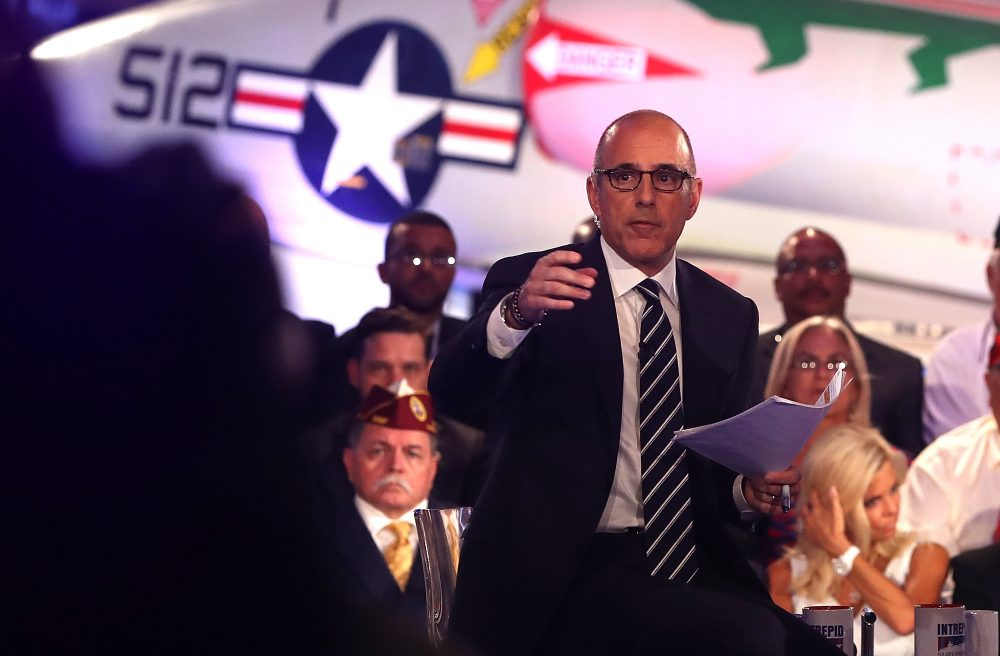 """""""Today"""" show host Matt Lauer looks on during the NBC News Commander-in-Chief Forum with Democratic presidential nominee, former Secretary of State Hillary Clinton on Sept. 7, 2016 in New York City. (Justin Sullivan/Getty Images)"""
