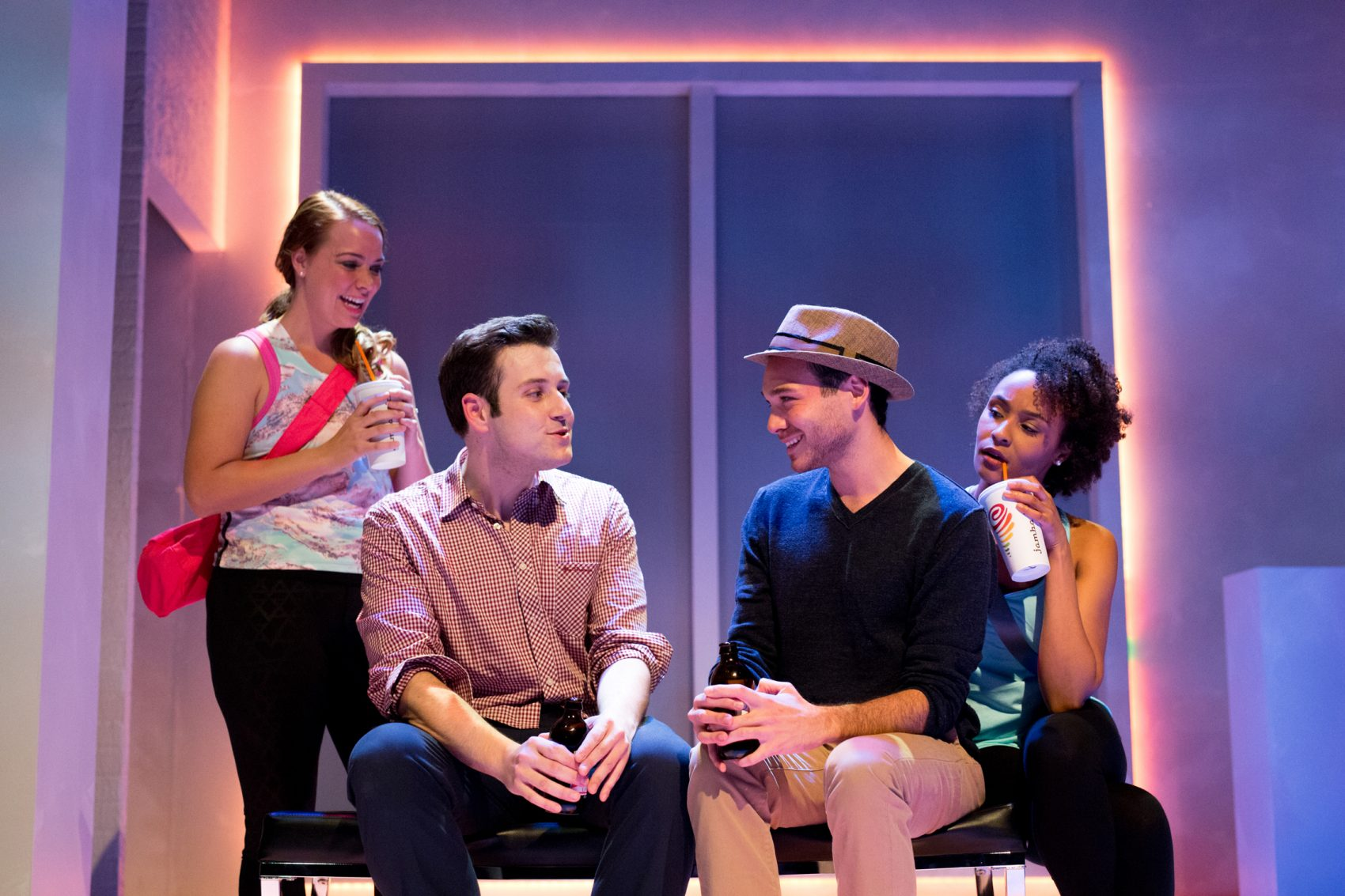 """Sarah Elizabeth Bedard, Greg Maraio, Eddie Shields and Kris Sidberry in SpeakEasy Stage's production of """"Significant Other."""" (Courtesy Justin Saglio)"""