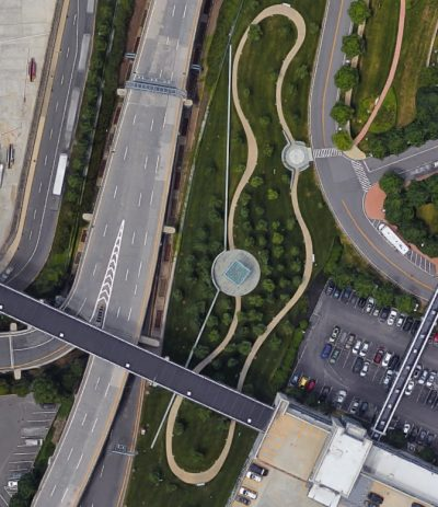 Google Maps view of the paths leading to Logan's 9/11 memorial