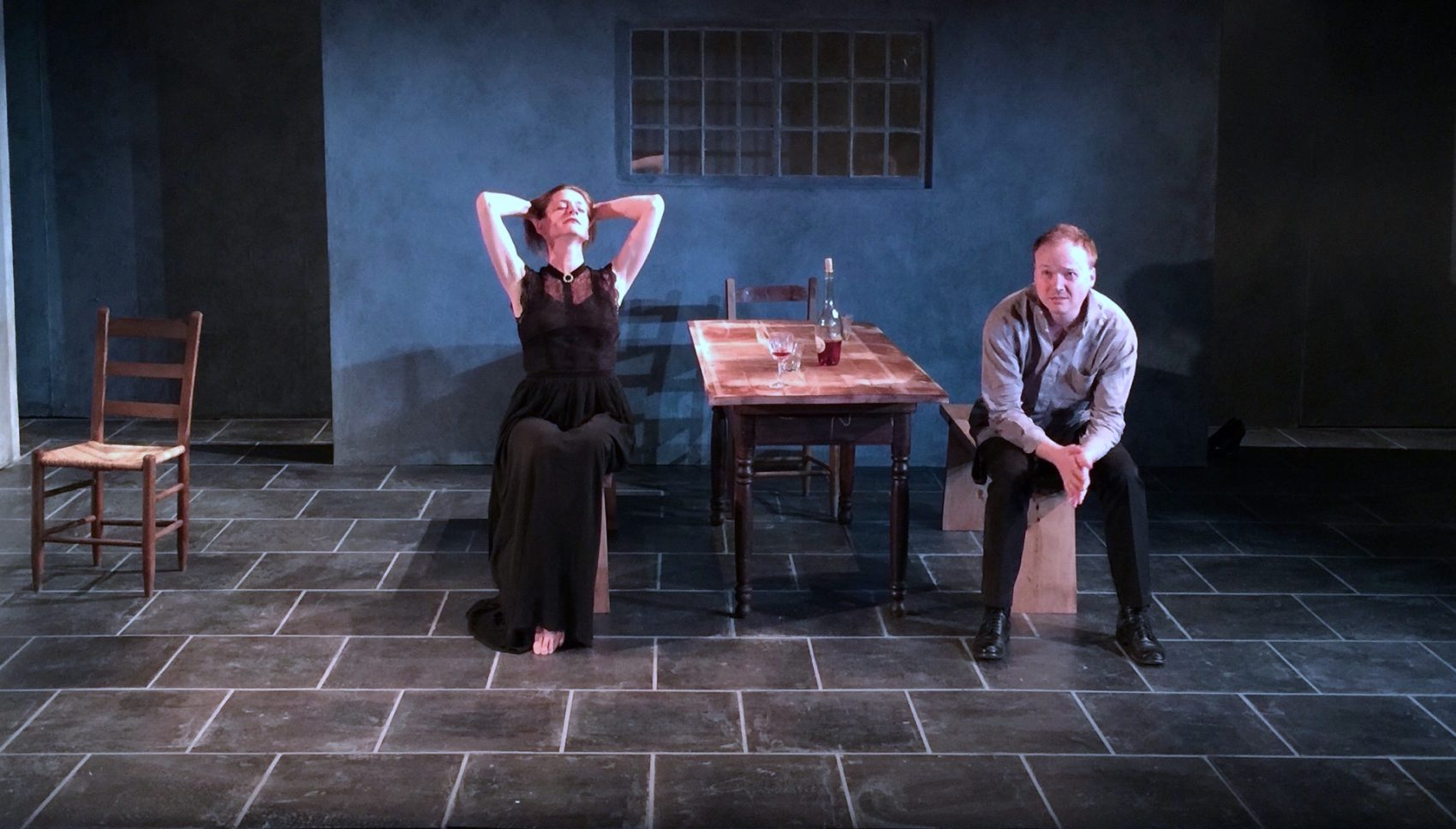 """Brenda Withers and Jonathan Fielding in """"Miss Julie."""" (Courtesy John Malinowksi/Harbor Stage Company)"""
