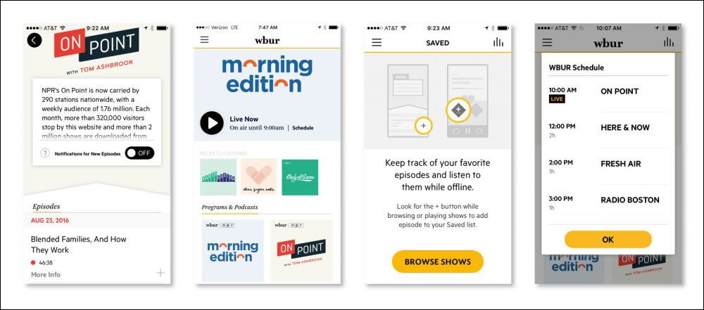 Screenshots from our new WBUR Listen app on iOS.