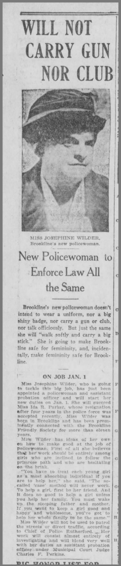 An article published in the Boston Post on December 8, 1920 profiles Brookline's second female cop, Josephine Wilder. (Boston Post)
