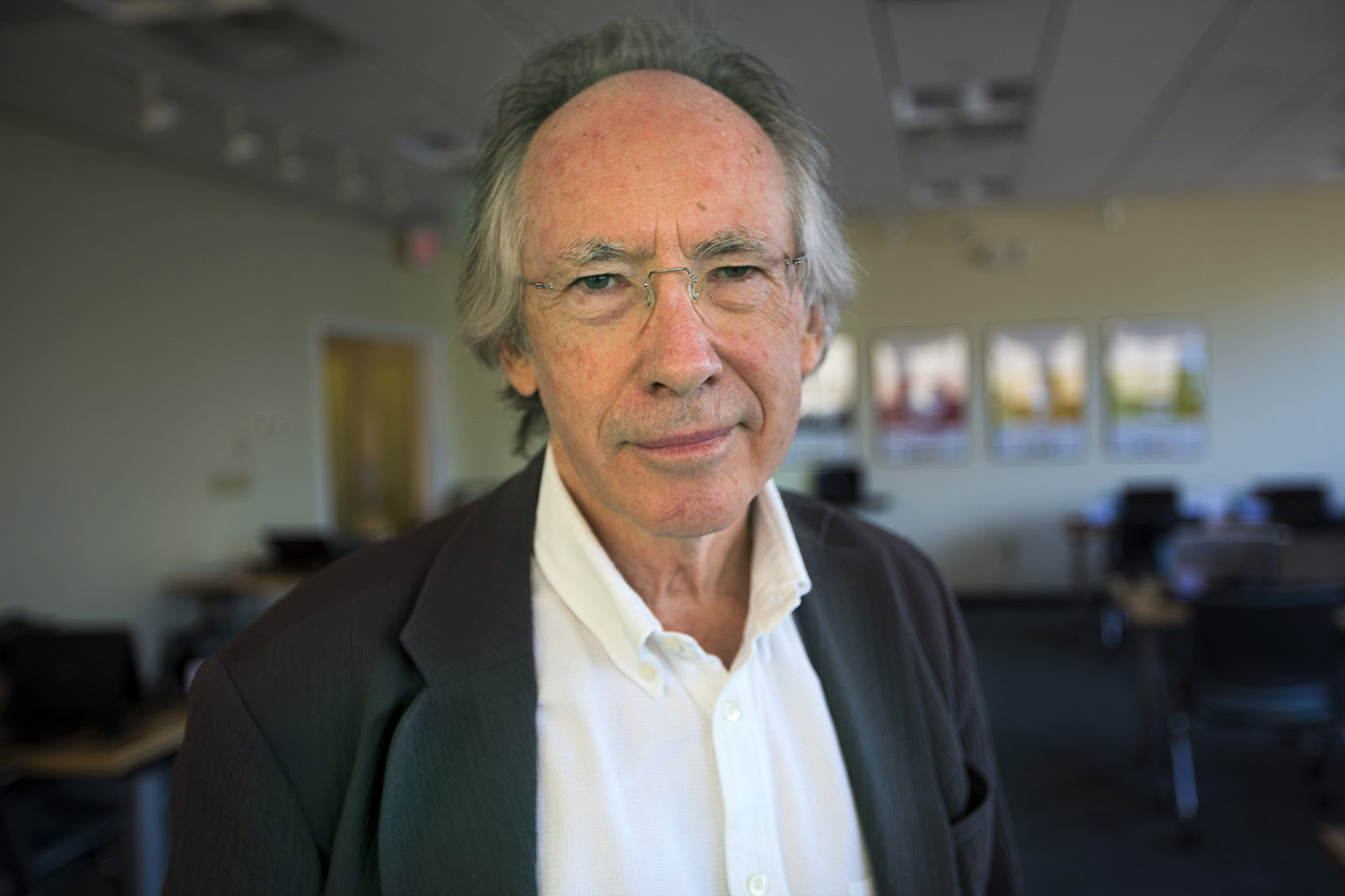 Novelist and author Ian McEwan, pictured in the WBUR offices on Wednesday, September 21, 2016. (Jesse Costa/WBUR)