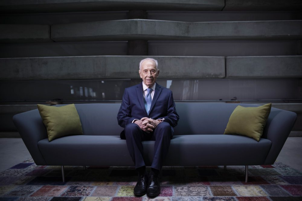 In this Monday, Feb. 8, 2016  file photo, Israel's former President Shimon Peres poses for a portrait at the Peres Center for Peace in Jaffa, Israel. Peres died at 93 on September 28, 2016. (Oded Balilty/AP)