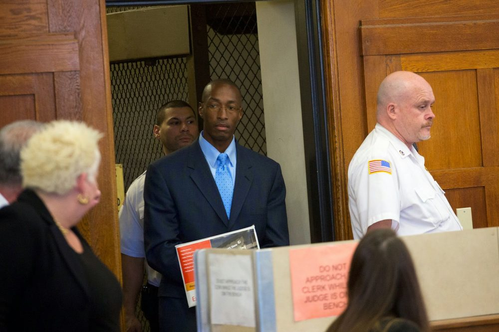 Sean Ellis, convicted of murdering Boston Police Detective John J. Mulligan in 1993, enters the court room at Suffolk Superior Court for a bail hearing last year. (Jesse Costa/WBUR)