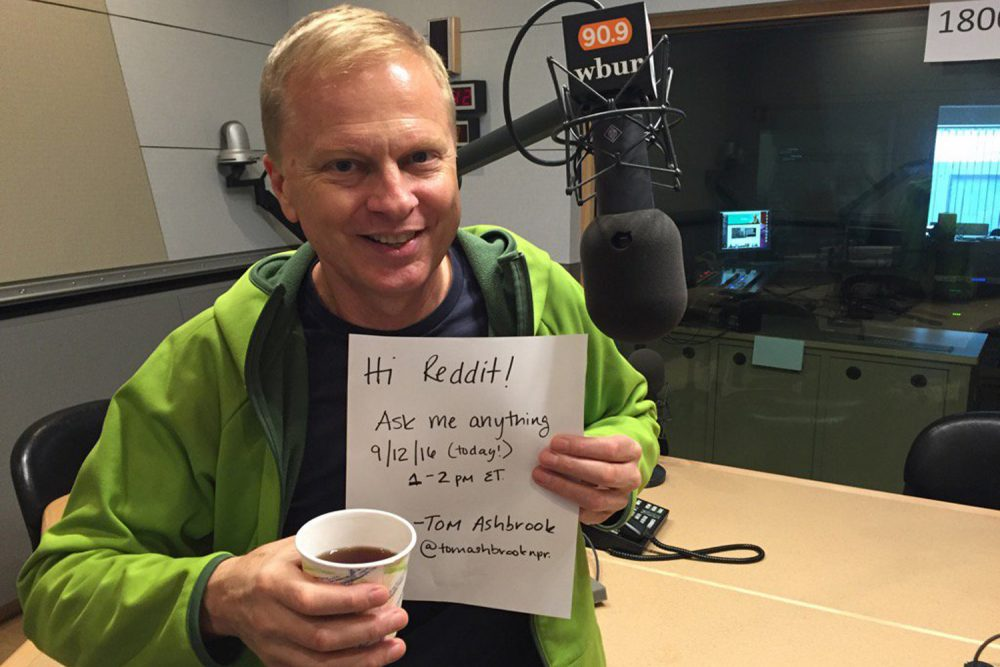 On Point host Tom Ashbrook, verifying his existence for the Reddit AMA community. (Tom Ashbrook/WBUR)