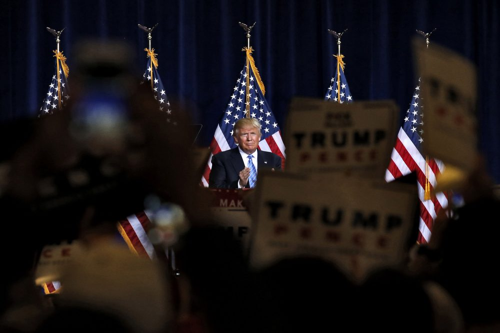 Republican presidential candidate Donald Trump delivers an immigration policy speech during a campaign rally at the Phoenix Convention Center in Phoenix. (Ross D. Franklin/AP)