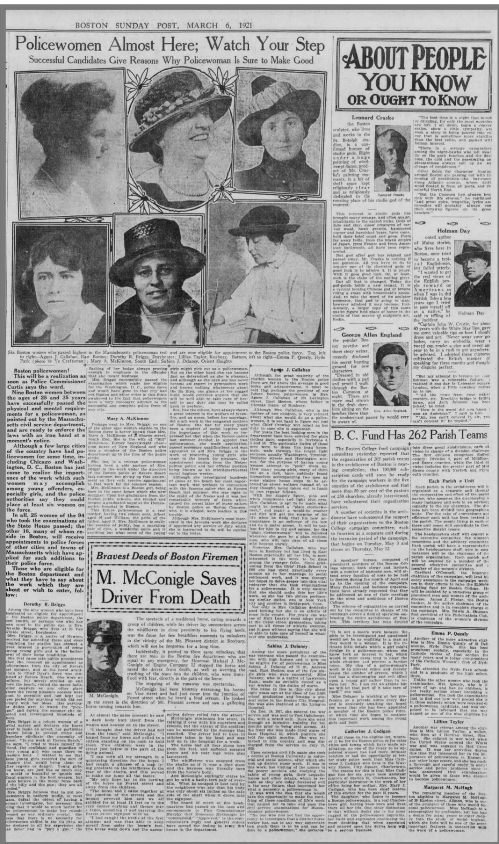 An article about the first female cops in Boston, published in the Boston Post on Sunday, March 6, 1921 under the headline 'Policewomen Almost Here: Watch Your Step.' (Boston Post)