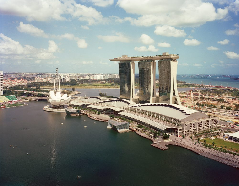 Marina Bay Sands is set in three ultra-modern high-rise buildings in the Republic of Singapore. (Courtesy Safdie Architects)