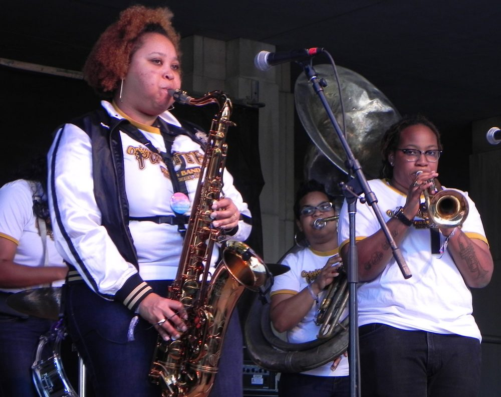 The Original Pinettes—including Natasha Harris (left) and Veronique Dorsey—performing in New Orleans. (Benoit Gallery)