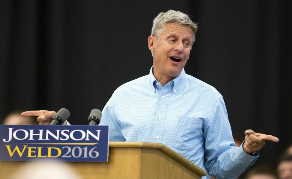 In this Sept. 3, 2016 photo, Libertarian presidential candidate Gary Johnson speaks during a campaign rally in Des Moines, Iowa. (Scott Morgan/AP)