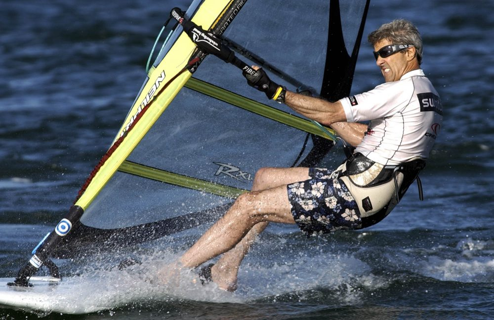 This Aug. 30, 2004 file photo shows Democractic presidential nominee Sen. John Kerry, D-Mass., as he windsurfs off the coast of Nantucket, Mass. Video of Kerry windsurfing was used in a political advertisement during his race against Republican President George W. Bush in 2004. (Laura Rauch/AP)