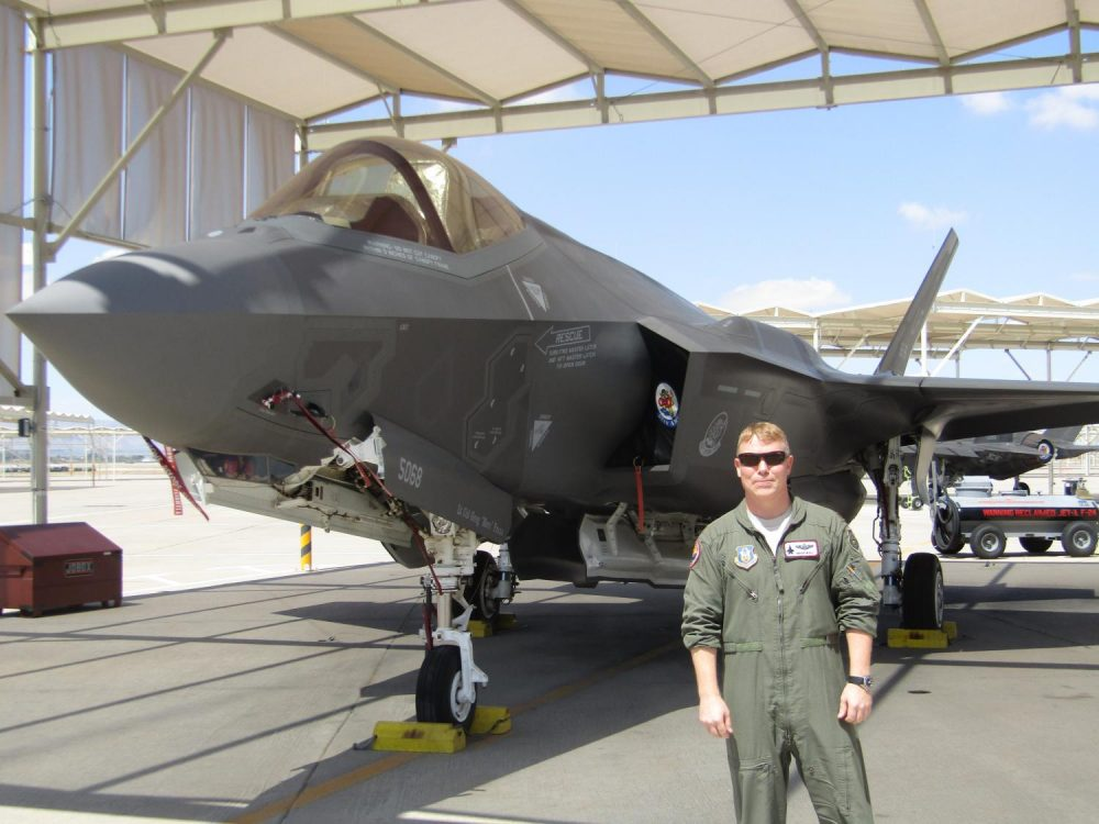 Maj. Brian Healy is the director of operations for the 62 Fighter Squadron. (Casey Kuhn/KJZZ)