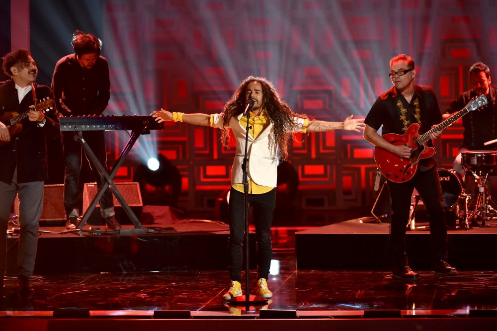 From left to right, musicians Enrique Rangel, Emmanuel del Real, Ruben Isaac Albarran Ortega and Joselo Rangel of Cafe Tacvba perform onstage during the 2014 NCLR ALMA Awards at the Pasadena Civic Auditorium on Oct. 10, 2014 in Pasadena, Calif. (Kevin Winter/Getty Images for NCLR)