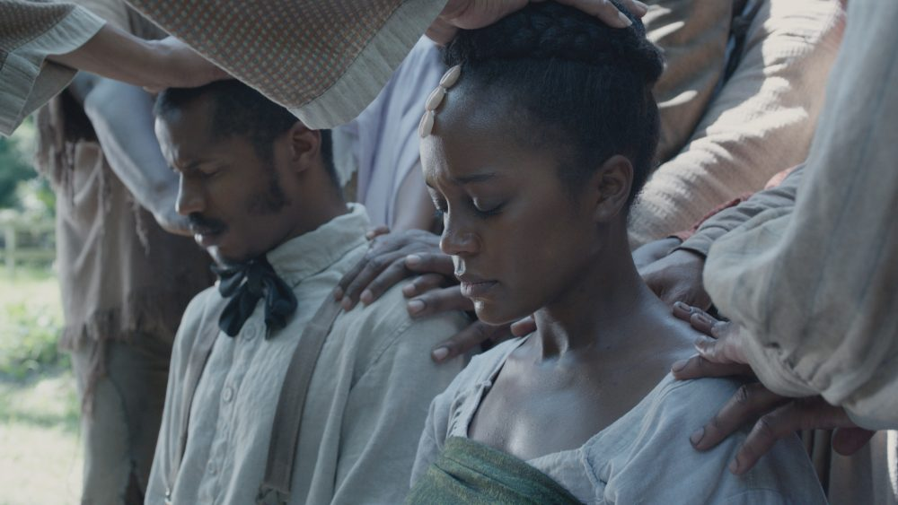 "Nate Parker as Nat Turner and Aja Naomi King as Cherry in ""The Birth of a Nation."" (Courtesy Fox Searchlight Pictures)"