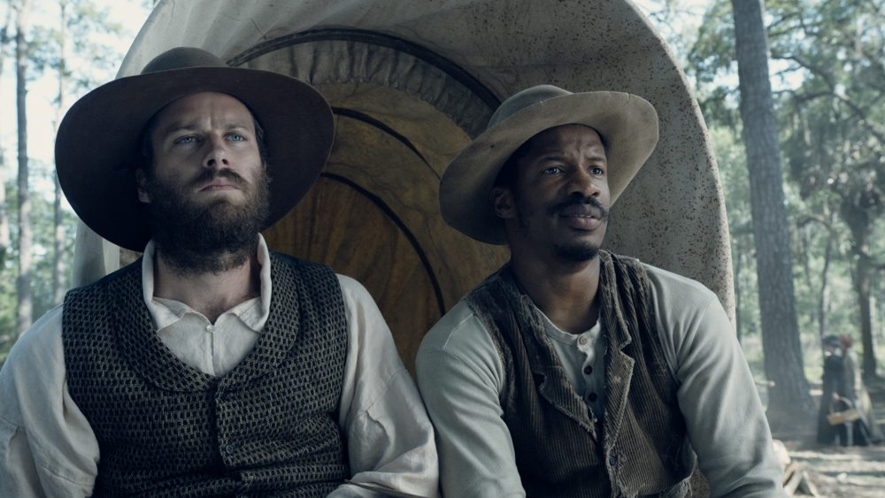 "Armie Hammer as Samuel Turner and Nate Parker as Nat Turner in ""The Birth of a Nation."" (Courtesy Fox Searchlight Pictures)"