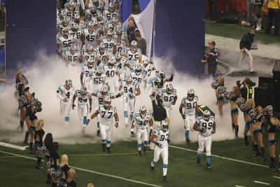 The Panthers at Super Bowl XXXVIII. Would a cappuccino machine have made the difference for Carolina? (Ronald Martinez/Getty Images)