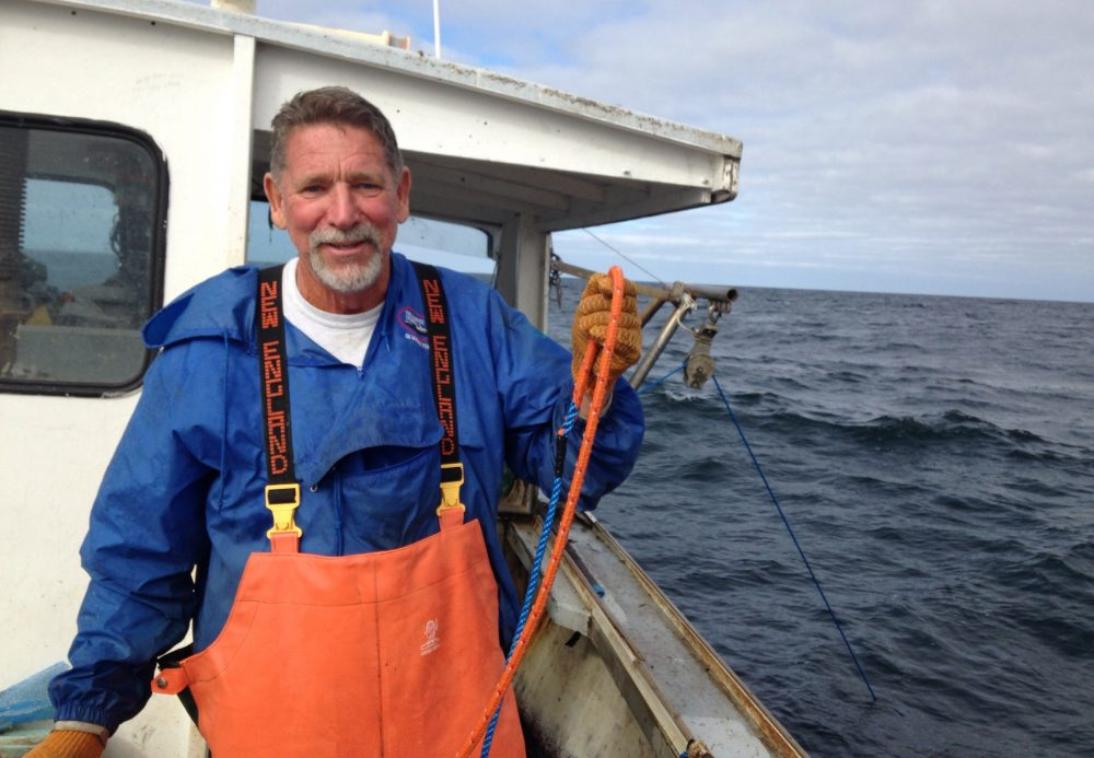 John Haviland holds up a modified rope he's using to catch lobster off the coast of Massachusetts. It has a lower breaking point than a standard fishing line so that whales can break through it more easily. (Peter O'Dowd/Here & Now)