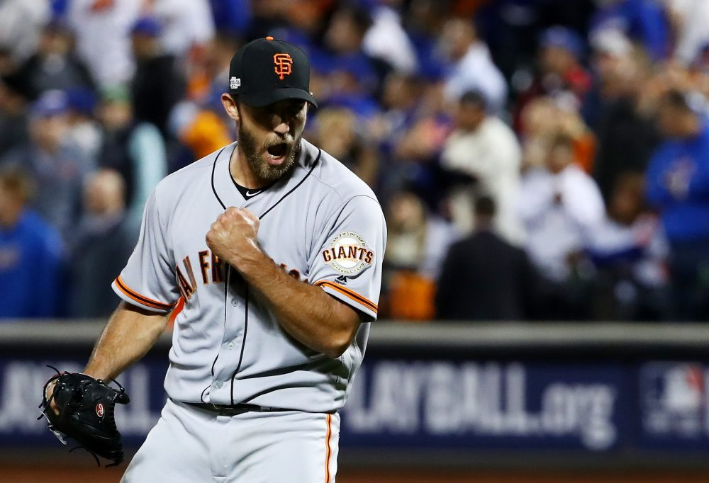 With his complete-game shutout in the NL Wild Card, Giants ace Madison Bumgarner may have cemented his spot as the best postseason pitcher of his generation. (Al Bello/Getty Images)