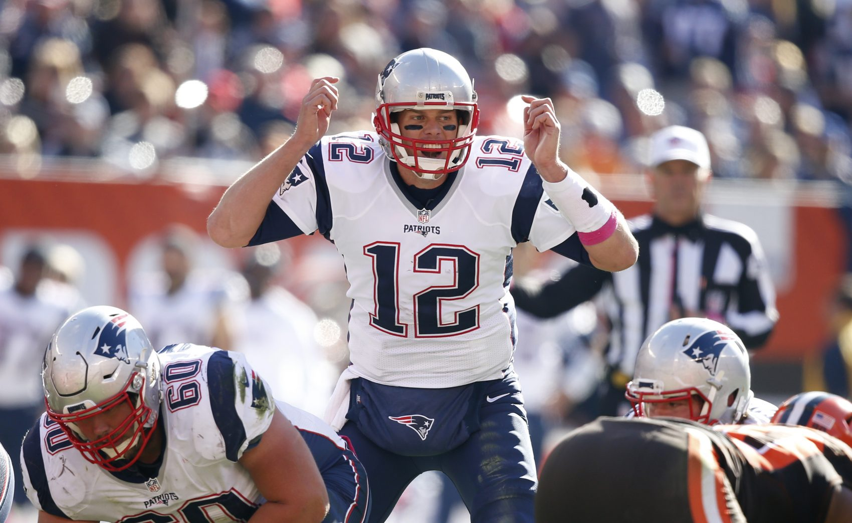 New England Patriots quarterback Tom Brady shouts at the line in the second half of Sunday's game against the Cleveland Browns. (Ron Schwane/AP)