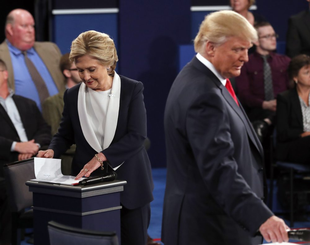 Democratic presidential nominee Hillary Clinton and Republican presidential nominee Donald Trump at the second 2016 presidential debate. (Rick T. Wilking/Pool via AP)