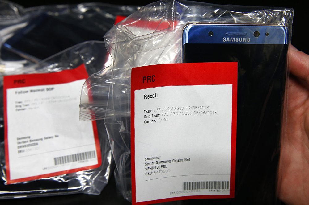 A Samsung's Galaxy Note 7 is held up in a plastic bag with other Note 7 phones on a counter that were returned to a Best Buy on Sept. 15, 2016 in Orem, Utah. The Consumer Safety Commission announced on Sept. 15 a safety recall on Samsung's new Galaxy Note 7 smartphone after users reported that some of the devices caught fire when charging. (George Frey/Getty Images)