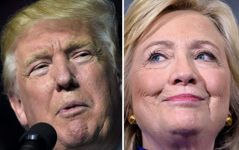 This combination of images shows Republican presidential nominee Donald Trump in Roanoke, Va., on Sept. 24, 2016 and Democratic presidential nominee Hillary Clinton on Sept. 21, 2016 in Orlando, Fla. (Desk/AFP/Getty Images)