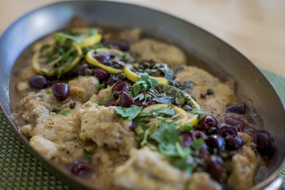 Kathy's sautéed chicken with lemon, capers and olives. (Jesse Costa/WBUR)