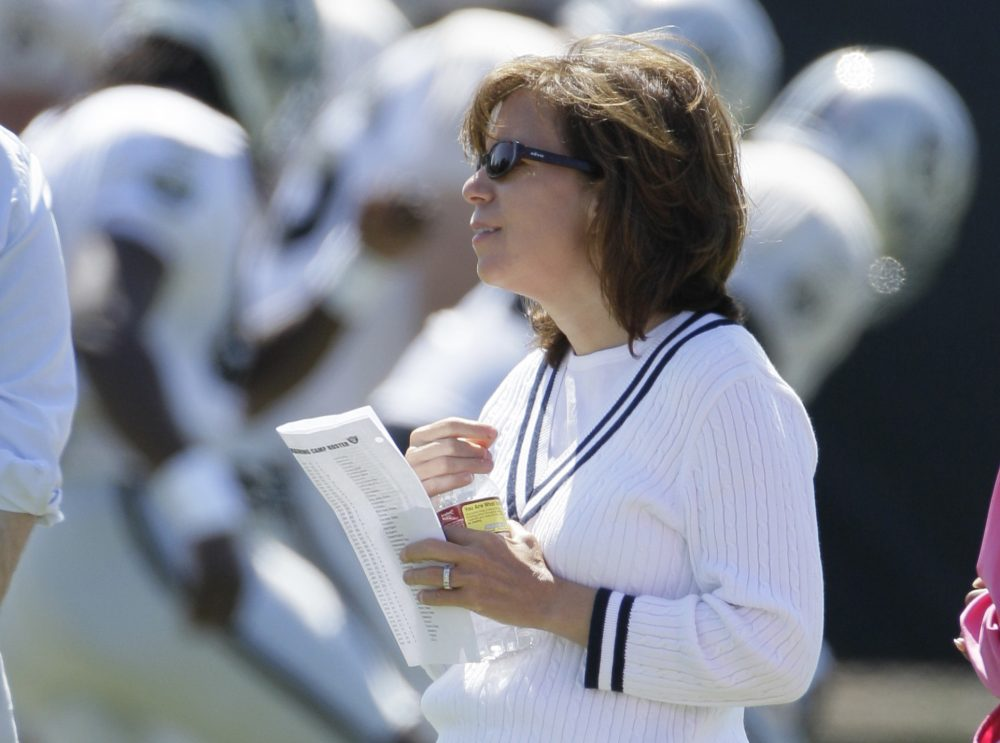 """If other people wanted to spend their time, their effort, waste their energy worried about my gender -- fine. Let them. I wasn't going to waste mine,"" former Oakland Raiders CEO Amy Trask says. (Eric Risberg/AP)"
