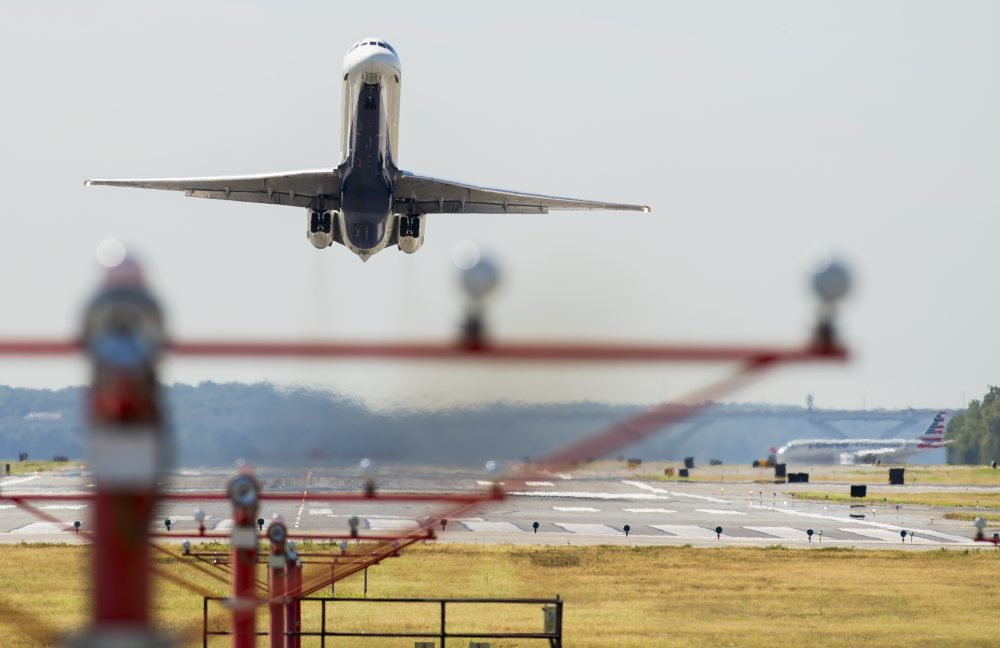 A Delta Airlines airplane takes off from Ronald Reagan Washington National Airport in Arlington, Va., Aug. 15, 2016. (Saul Loeb/Getty Images)
