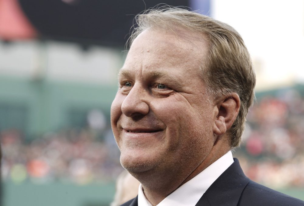 Former Boston Red Sox pitcher Curt Schilling after being introduced as a new member of the Boston Red Sox Hall of Fame in 2012. (Winslow Townson/AP File)