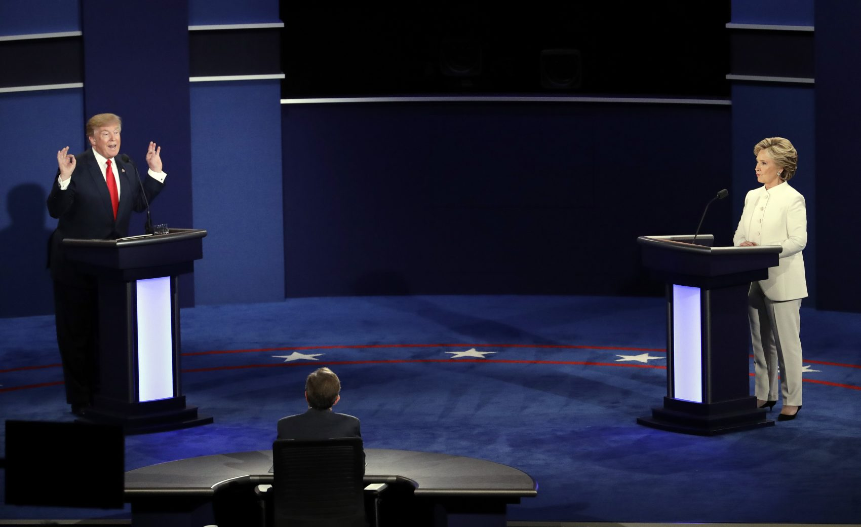 Republican presidential nominee Donald Trump debates Democratic presidential nominee Hillary Clinton during the third presidential debate at UNLV in Las Vegas, Wednesday, Oct. 19, 2016. (Julio Cortez/AP)