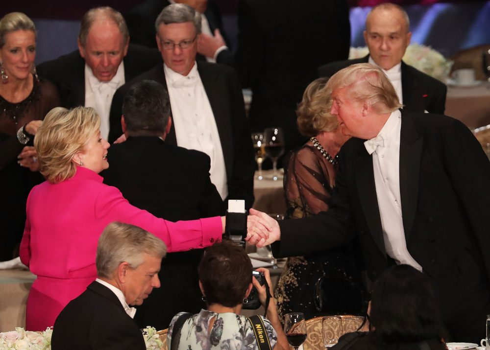 Hillary Clinton shakes hands with Donald Trump while attending the annual Alfred E. Smith Memorial Foundation Dinner at the Waldorf Astoria on Oct. 20, 2016 in New York City. (Spencer Platt/Getty Images)
