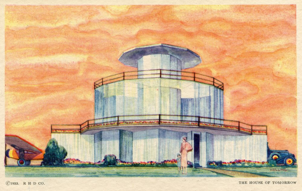 """A rendering of the """"House of Tomorrow."""" The house was designed and built for the 1933 Chicago World's Fair's Century of Progress Exhibition. (Courtesy Collection of Steven R. Shook)"""