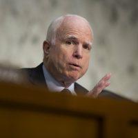 Sen. John McCain, R-Ariz. speaks on Capitol Hill in Washington, Thursday, April 28, 2016. (Evan Vucci/AP)