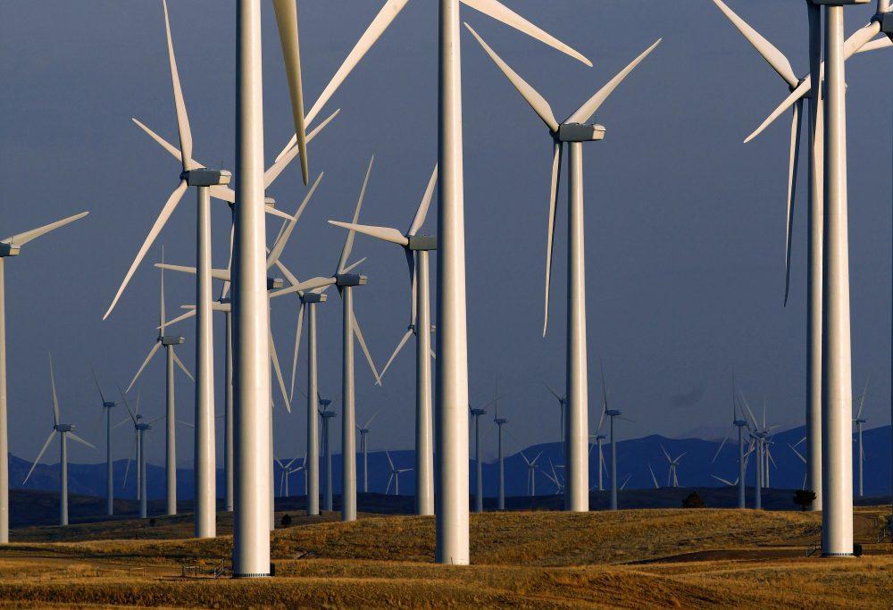This May 6, 2013 file photo shows a wind turbine farm near Glenrock, Wyo. (Matt Young/AP)