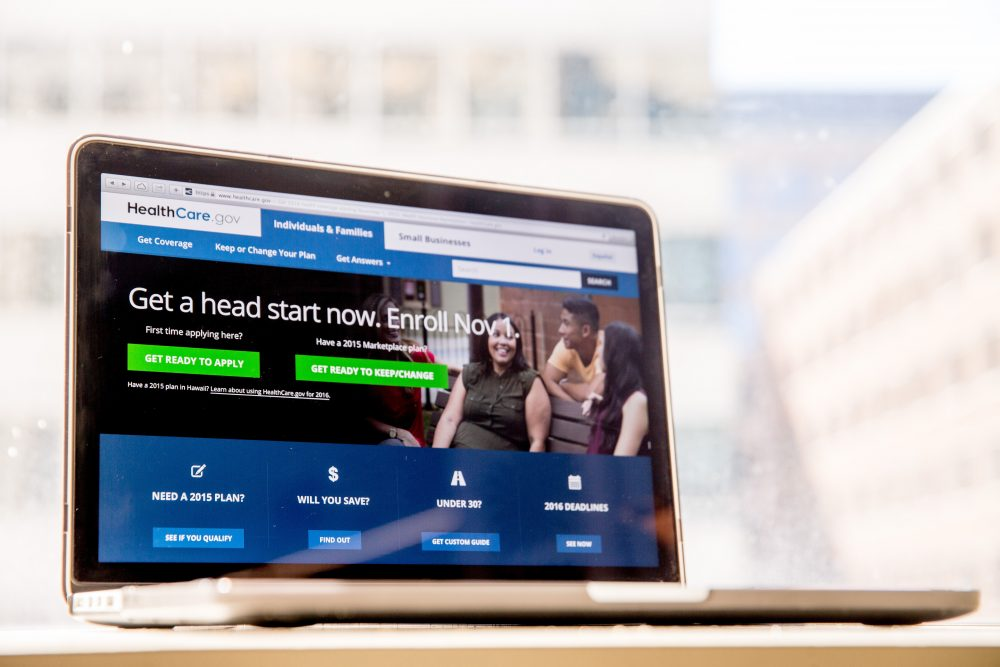 """In this Oct. 6, 2015, file photo, the HealthCare.gov website, where people can buy health insurance, is displayed on a laptop screen in Washington, D.C. About 9 in 10 Americans now have health insurance, more than at any time in history. """"Obamacare"""" remains divisive, and premiums for next year are rising sharply in many communities. (Andrew Harnik, File/AP)"""