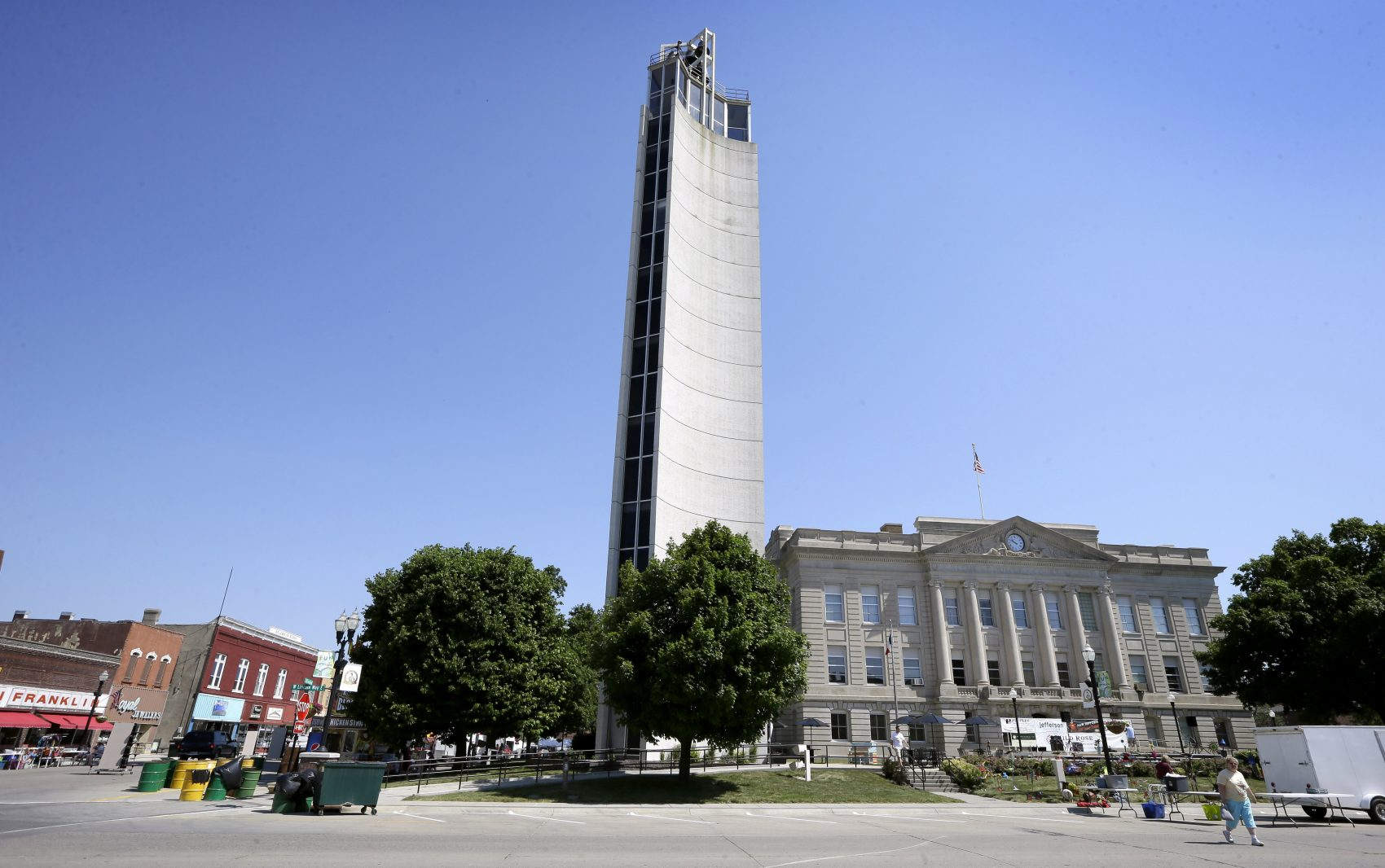 The Mahanay Memorial Carillon Tower is seen next to the Greene County Courthouse, Friday, June 10, 2016, in Jefferson, Iowa. (Charlie Neibergall/AP)
