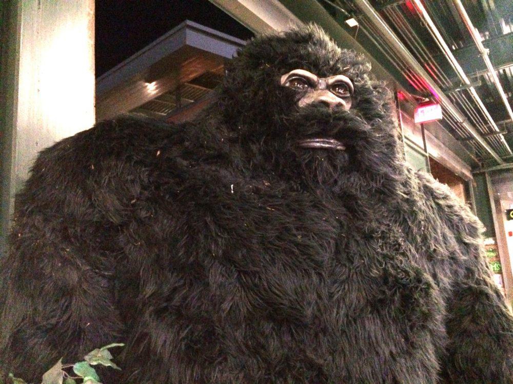 A Bigfoot statue at PK Park, home of Minor League Baseball's Eugene Emeralds. (Brian Bull/KLCC)