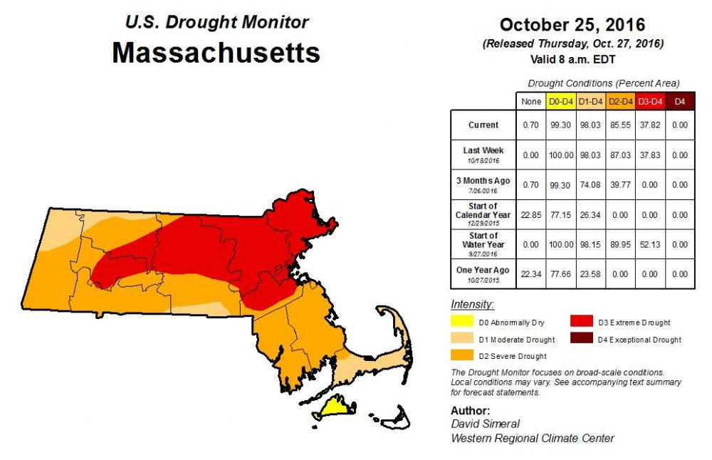 Drought conditions in Massachusetts. (Courtesy U.S. Drought Monitor)