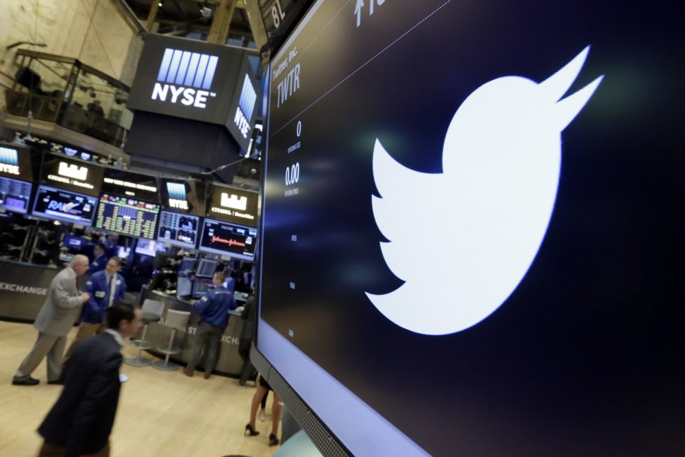 In this July 27, 2016, file photo, the Twitter symbol appears above a trading post on the floor of the New York Stock Exchange. (Richard Drew/AP)