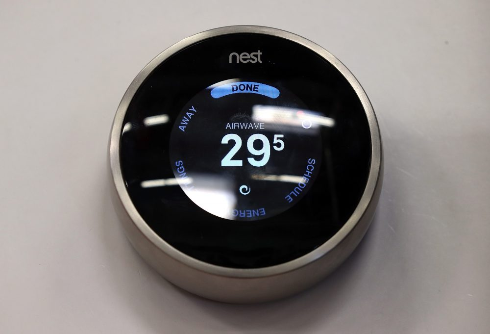 The Nest Learning Thermostat, a type of smart thermostat, is displayed at a Home Depot store on Jan. 13, 2014 in San Rafael, Calif. (Justin Sullivan/Getty Images)