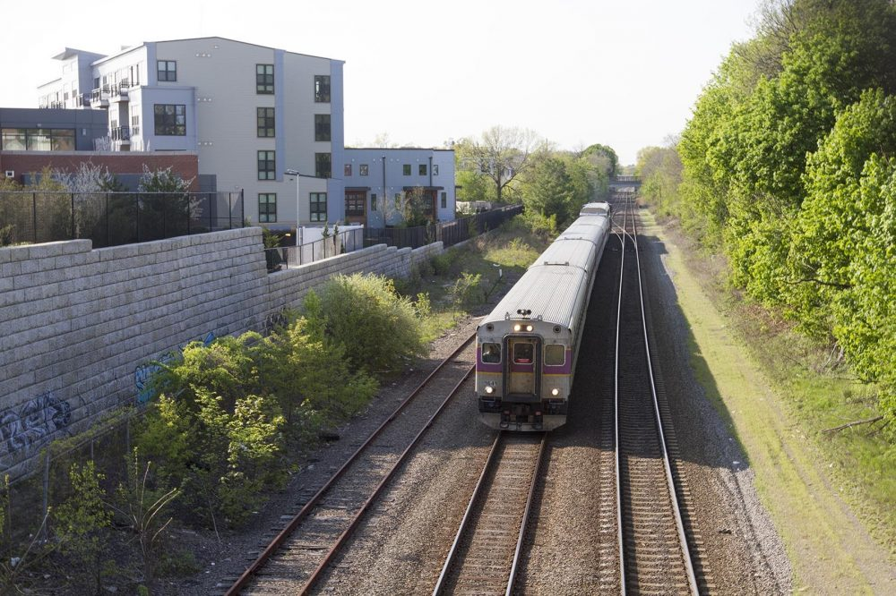 A commuter rail train is seen in the Boston area. Lawmakers in New Hampshire have been debating connecting Boston's commuter rail to Nashua and Manchester. (Joe Difazio for WBUR)