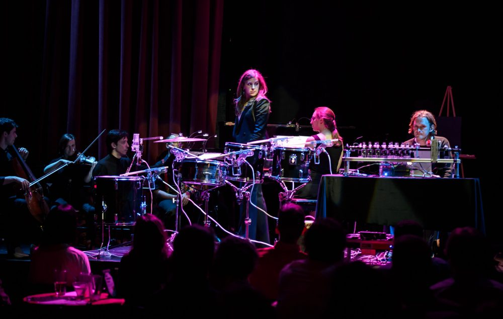 """Lidiya Yankovskaya, artistic director for Juventas, in the new music ensemble's production, """"Music in Motion,"""" in 2015. The ensemble kicks off a collaboration of new music players with a festival on Nov. 2 at the Oberon. (Courtesy Scott Bump/Juventas)"""