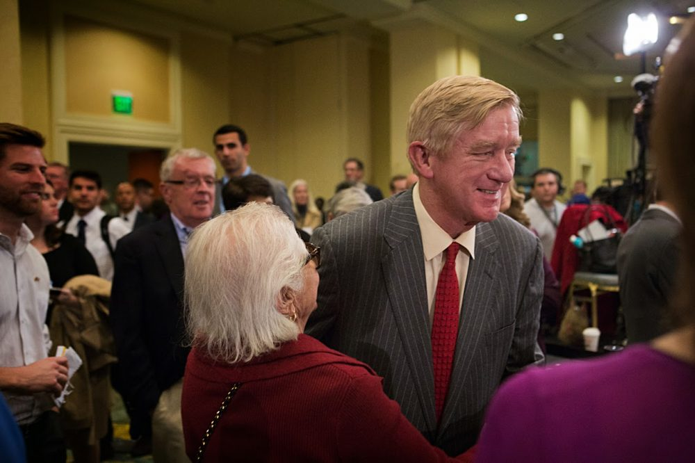Former Massachusetts Gov. Bill Weld at current Gov. Charlie Baker's election night party in 2014. (Jesse Costa/WBUR)