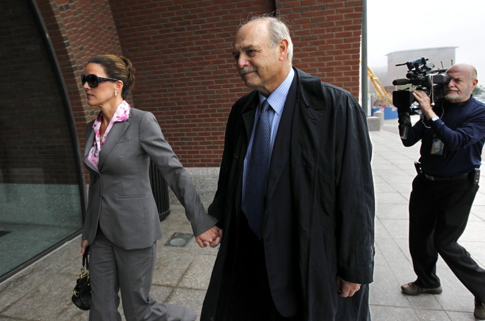 Former Massachusetts House Speaker Salvatore DiMasi, center, and his wife Debbie arrive at federal court in Boston on Sept. 23, 2011, during his trial on corruption charges. (Steven Senne/AP)