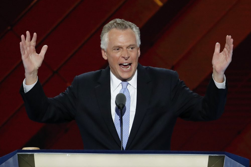Virginia Gov. Terry McAuliffe speaks during the second day of the Democratic National Convention in Philadelphia on July 26. (J. Scott Applewhite/AP)