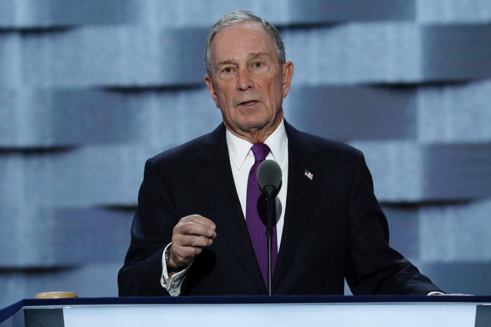 Former New York City Mayor Michael Bloomberg speaks the Democratic National Convention in July. On Tuesday, he announced a $50 million donation to Boston's Museum of Science. (J. Scott Applewhite/AP)