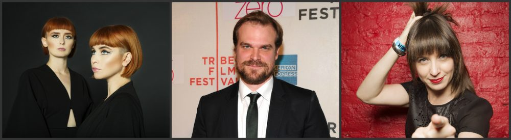 (From left: Ophira Eisenberg, David Harbour, and Lucius)