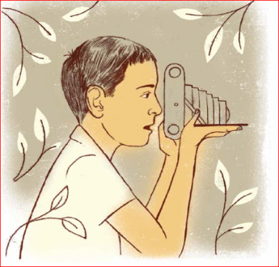 Young Leonard Nimoy with a camera in the new illustrated children's book about his life. (Courtesy)